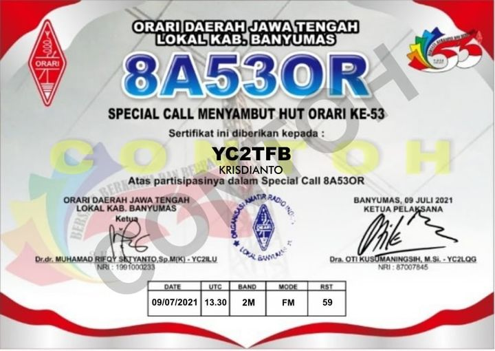 Contoh QSL Card Special Call 8A53OR
