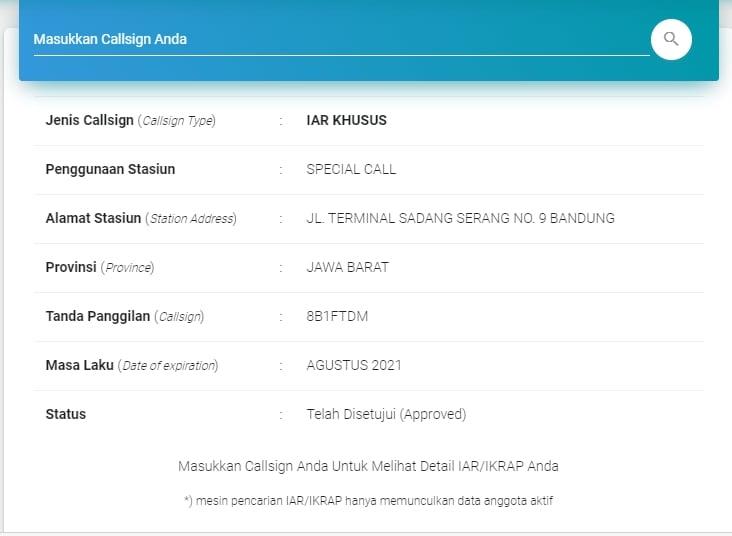Pencarian data IAR Khusus 8B1FTDM
